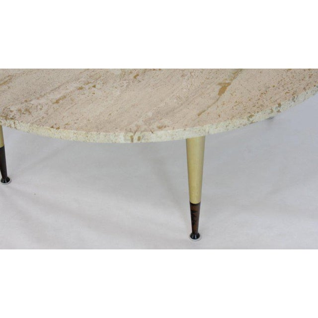 White Italian Modern Round Travertine Top Coffee Table on Tapered Metal Legs Base For Sale - Image 8 of 11