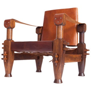 Brutalist Brazilian Armchair in Cognac Leather For Sale