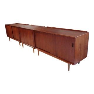 Trio of Scandinavian Modern Arne Vodder Teak and Oak Media Cabinets For Sale