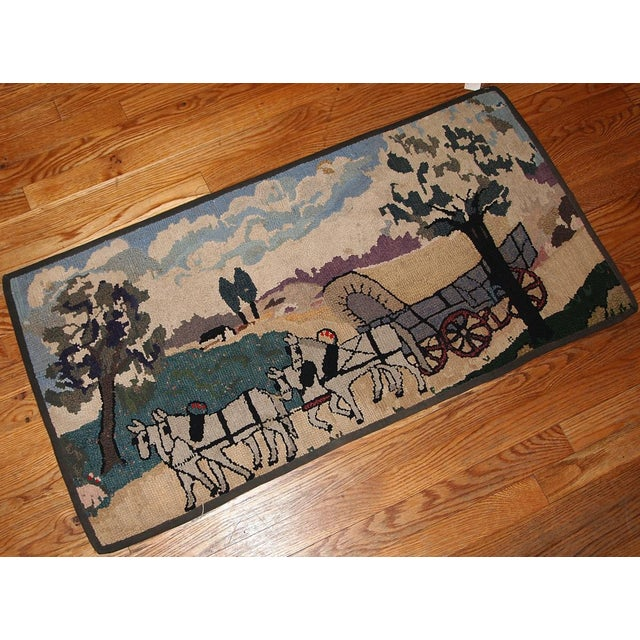 Late 19th Century 1880s Handmade Antique American Hooked Rug 1.10' X 3.9' For Sale - Image 5 of 6