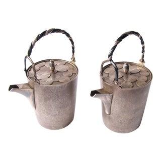 Taisho Period Silver Sake Bottle Pair by Nobuyuki Miyajima - a Pair For Sale