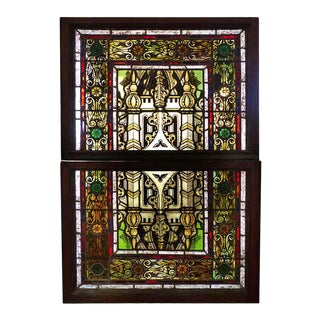 Late 19th Century Traditional Multicolored Stained Glass Window For Sale