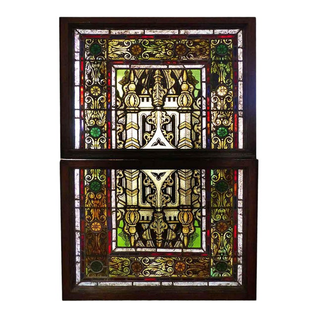 Late 19th Century Traditional Polychrome Stained Glass Window For Sale