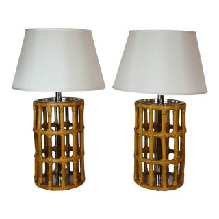 Pair of Mid-Century Modern Rattan and Bamboo Lamps For Sale