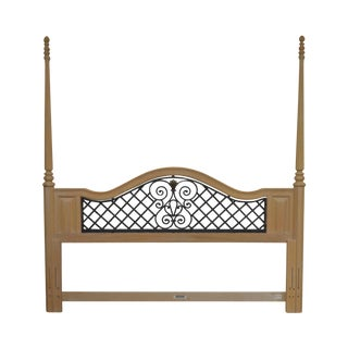 Bernhardt Cerused Oak Poster King Headboard With Iron Lattice For Sale