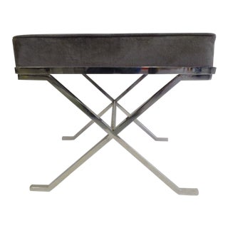Pair French Modern Neoclassical Nickel Benches / Stools, Style Jean-Michel Frank For Sale