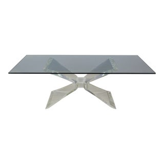 Vintage Butterfly Lucite Coffee Table For Sale