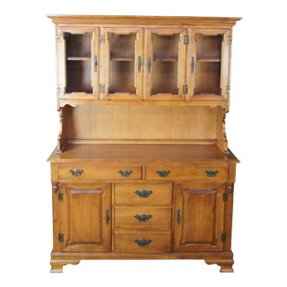 Tell City Colonial Hard Rock Maple China Cabinet Hutch Buffet Cupboard For Sale