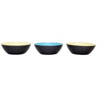 Three Enamel Krenit Bowls by Herbert Krenchel For Sale