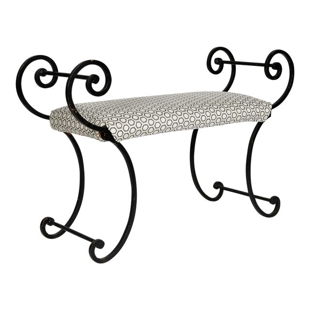 Hollywood Regency Scrolling Iron Bench in Jim Thompson Fabric For Sale