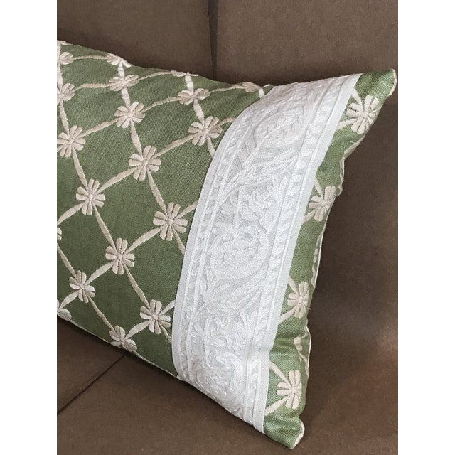 Transitional Green Pillow W/ Natural Embroidered Flower Lattice For Sale In Raleigh - Image 6 of 11