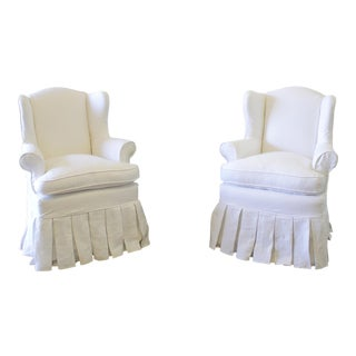 Slip Covered Linen Wing Chairs With Ruffle Skirt - a Pair For Sale