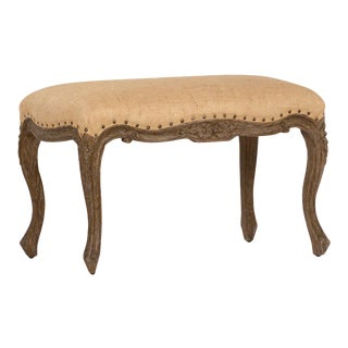 Carved Wood Upholstered Bench