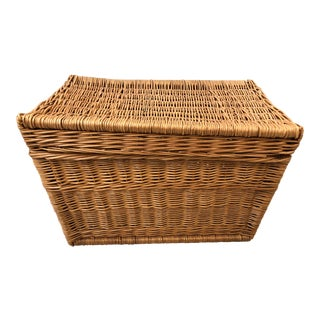 1970s Mid Century Wicker Trunk For Sale