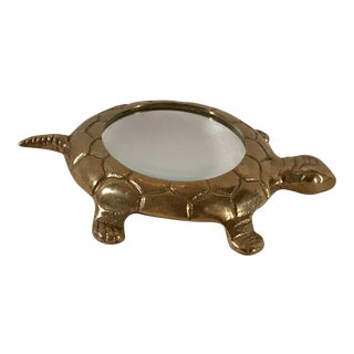 Mid-20th Century Figurative Brass Turtle Magnifying Glass For Sale
