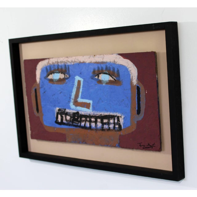 2000 - 2009 Contemporary Framed Painting on Wood Portrait Signed Tyree Guyton Dated 2000s For Sale - Image 5 of 8