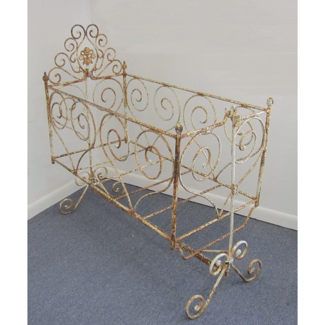 Victorian Antique Wrought Iron Scrollwork Crib - Image 2 of 7