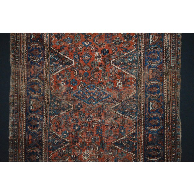 """Distressed Antique Persian Tribal Rug - 3'7"""" X 4'9"""" - Image 4 of 9"""