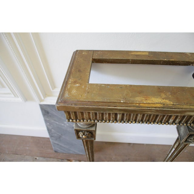 20th Century Louis XVI Style Petite Giltwood Wall Console Table With Stone Top For Sale - Image 9 of 10