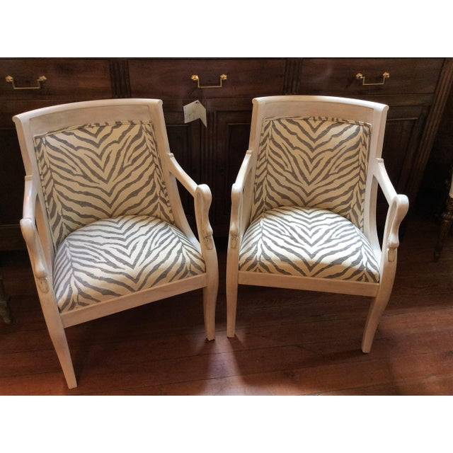 Pair Of Late 19th Century Armchairs With A Swan Motif Armrest Empire Style Back
