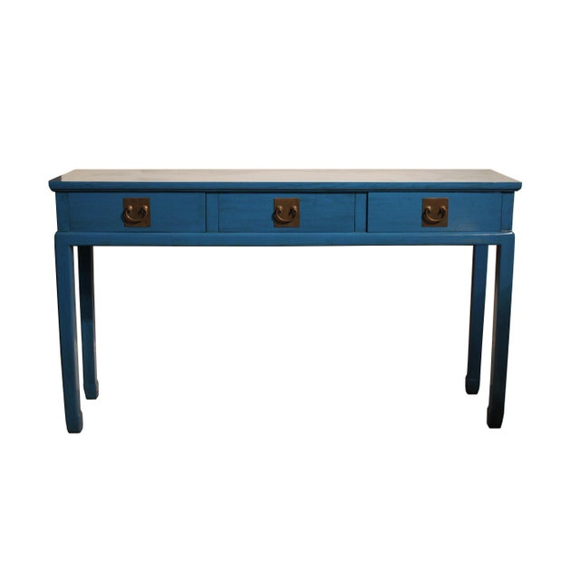 Wood Chinoiserie Blue Lacquered Desk/Console Table For Sale - Image 7 of 7