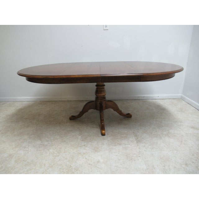 Wood French Country Ethan Allen Pedestal Dining Room Table For Sale - Image 7 of 12