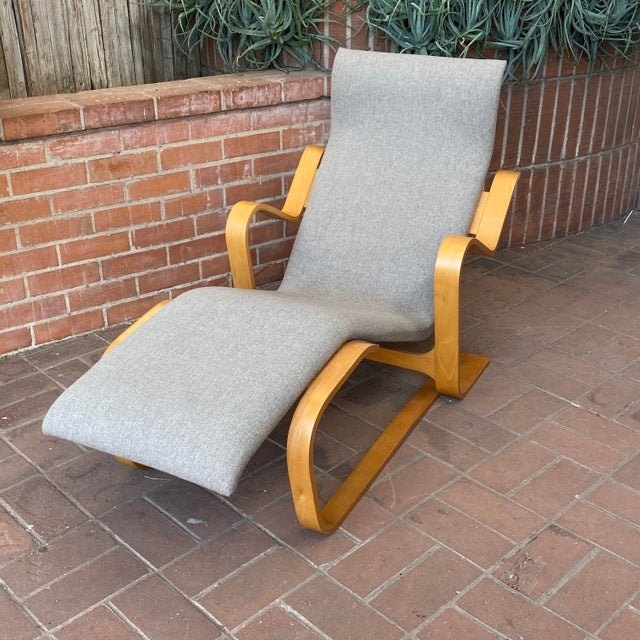 From the collection of a Knoll Representative - Iconic Marcel Breuer Chaise Lounge. Gray (with hint of blue) wool...