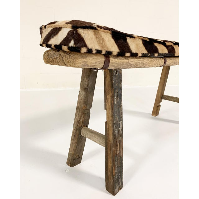 Asian Chinese Elmwood Bench With Zebra Cushion For Sale - Image 3 of 6