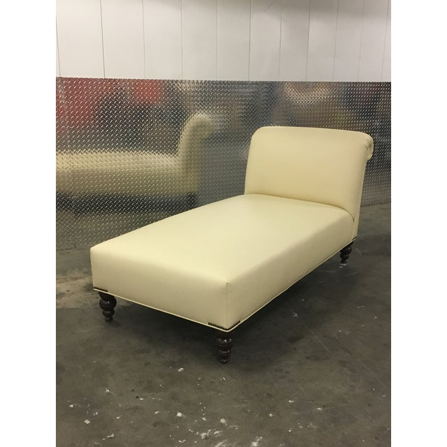 George Smith Style Ivory Leather Chaise For Sale - Image 9 of 9