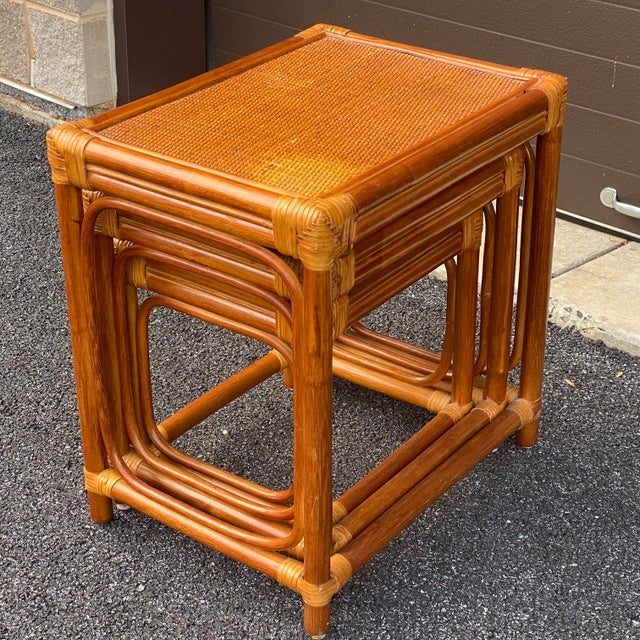 Wood Leather Wrapped Rattan Nesting Tables - Set of 3 For Sale - Image 7 of 13