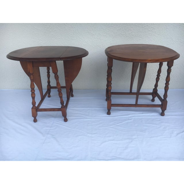 Wood Small Miniature Drop Leaf Side Tables- a Pair Early 20th Century Vintage For Sale - Image 7 of 13