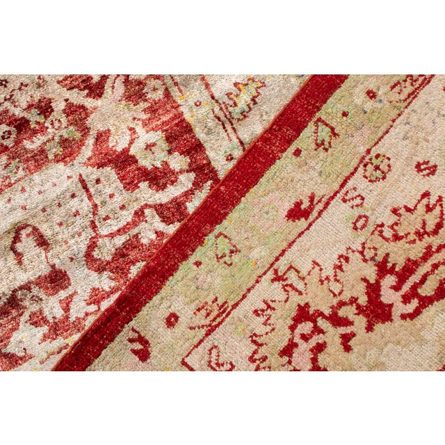 Silk Traditional Hand Knotted Red and Beige Oushak For Sale - Image 7 of 8