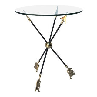 Brass and Iron Arrow Side Table For Sale