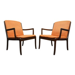 Pair of Ole Wanscher Lounge Chairs in Mahogany For Sale