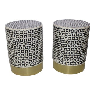 Vintage Drum Tables Tessellated Black and White Bone - a Set of 2 For Sale