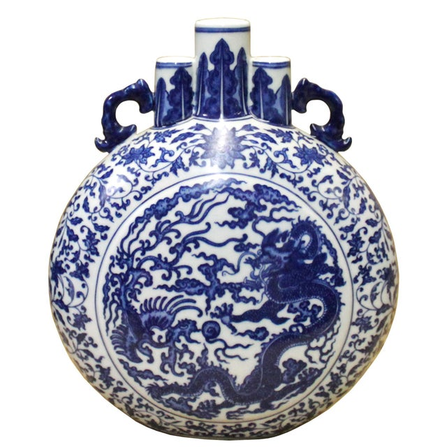 Chinese Blue White Porcelain Dragon Phoenix Theme Flask Vase For Sale In San Francisco - Image 6 of 8