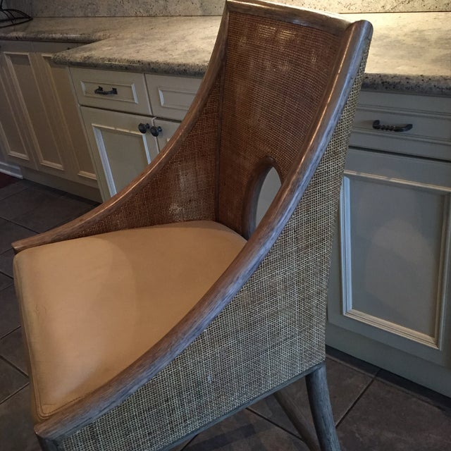 Leather Rattan Cane Counter Height Chairs - Set of 4 - Image 6 of 12