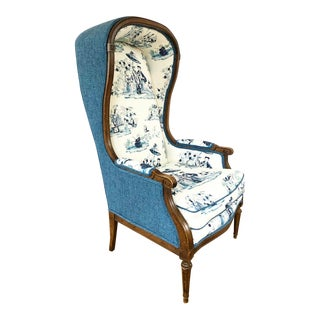 Vintage Porter Chair With Blue and White Chinoiserie Fabric For Sale