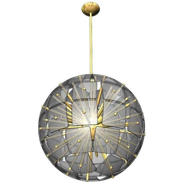 """Brass Sputnik Rock Crystal Chandelier, """"Nova"""", Limited Edition For Sale - Image 7 of 7"""