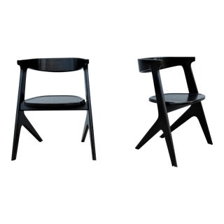 Modern Tom Dixon Slab Dining Chairs in Black Solid Oak - a Pair For Sale