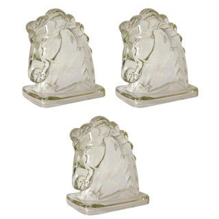 Glass Horse Heads - Set of 3