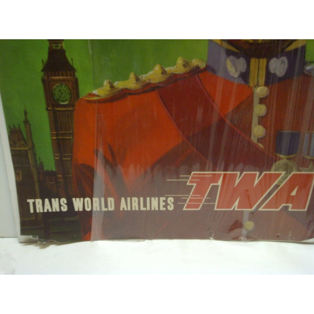 Circa 1960 Twa Trans World Airlines London Travel Poster For Sale - Image 4 of 5