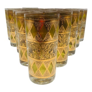 1970s 22k Yellow Rainier Highballs by West Virginia Glass Co - Set of 15 For Sale