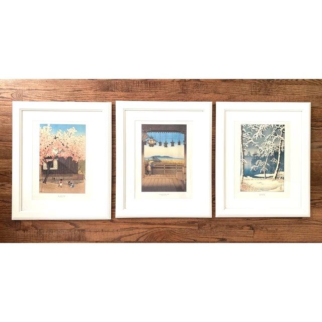 Set of three framed Japanese Woodblock Reproduction Prints by Kawase Hasui. 1. Mt. Atago Spring, Kawase Hasui, 1921 2....