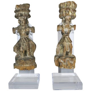 Carved Italian Gilt Wood Figures on Lucite Stands For Sale