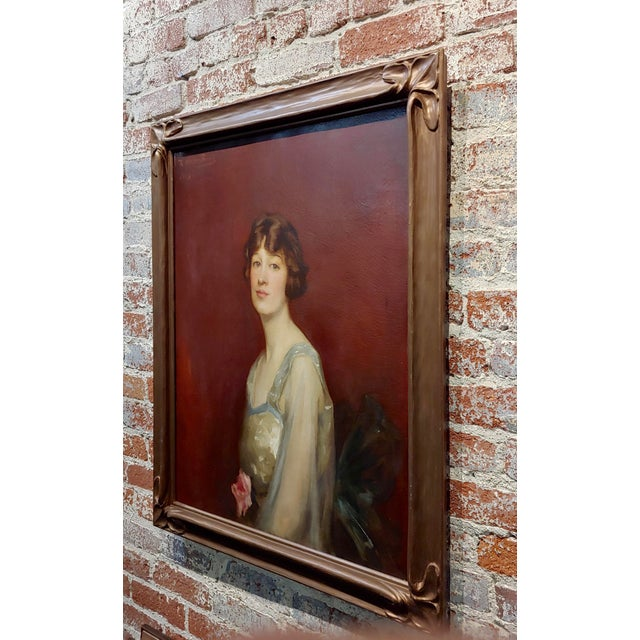 Roland Hinton Perry -Portrait of a Woman in a Stylish Dress -C.1919 Oil Painting For Sale - Image 9 of 11