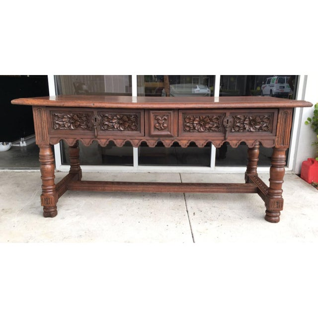 Baroque 17th Century Spanish Baroque Carved Walnut, Refectory Console Table For Sale - Image 3 of 10