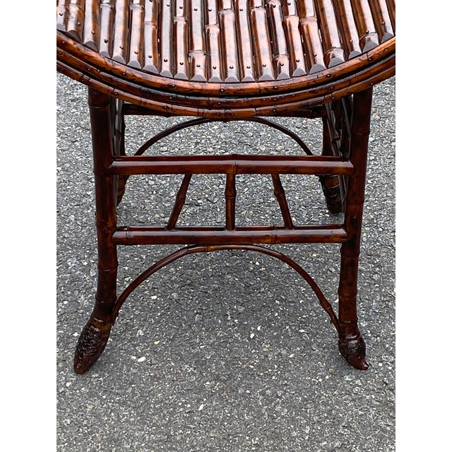 English Bamboo Bench or Stool With Faux Tortoise Finish For Sale In Philadelphia - Image 6 of 9