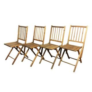 1910s Antique Wood Folding Chairs - Set of 4