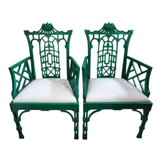 Chinese Chippendale Style Chairs - A Pair